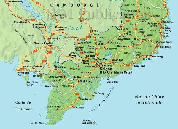 Carte du Vietnam du Sud » Vacances   Arts  Guides Voyages